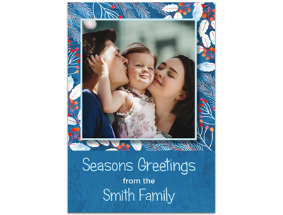 Holiday Card: Blue Floral 5x7